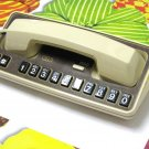Funky Vintage Telephone GTE Touch Tone Wood Grain Big Button Tan Beige Desk Table Phone