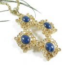 Chunky Gold Cross Pendant Necklace Sarah Coventry Victoria Blue Modernist 1970s