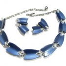 Blue Thermoset Necklace Earrings Vintage Lisner Silver Moonglow Chunky Modern Retro Designer