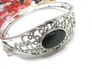 Vintage Silver Bangle Bracelet Black Onyx Sarah Coventry Filigree Retro Mod 1975 Jewelry