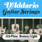 D'Addario Guitar Strings Bronze Light Acoustic J16 Phos Bronze Light 24 32 42 53