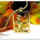 Avon Sagittarius Necklace Pendant 1980 Boxed Vintage Jewelry Gold Star Signs Retro Mod