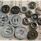 Vintage Metal Buttons Lot Distressed Antique Silver Pewter Black Crafts Sewing