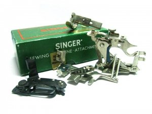 Vintage Singer Sewing Machine Attachments 160809 Ruffler Hemmer Zipper Featherweight Binder Shirring