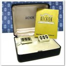 Hickok Vintage Cufflinks Mens Retro Mod Silver Black Geometric Rectangle Designer Jewelry