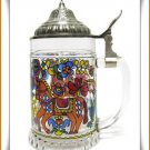 German Beer Stein BMF Stained Glass Horse Pewter Lid Vintage Collectible Mug