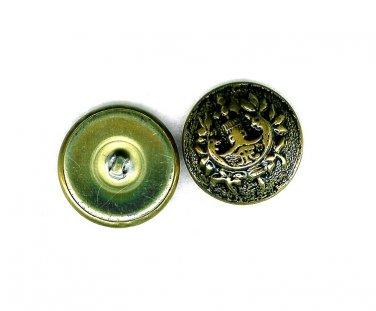 Metal Military Brass Buttons Vintage Japan Asian Gold Black Shank Lot 2