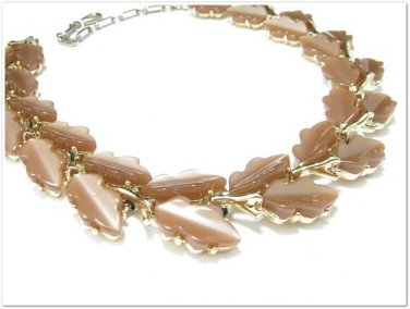 Lisner Thermoset Necklace Copper Brown Leaf Gold Designer Retro Vintage Jewelry