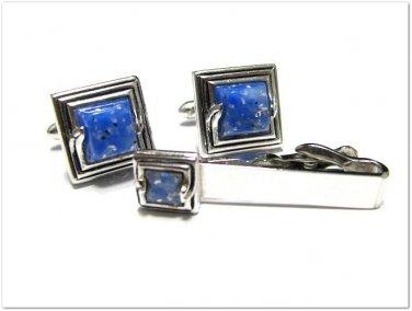 Mens Vintage Cufflinks Tie Bar Swank Silver Blue Confetti Square  Geometric Retro Designer Jewelry