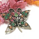 Colorful Rhinestone Butterfly Brooch Sarah Coventry Pin Designer Jewelry Gold Green Coral