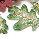 Green Leaf Brooch Earrings Sarah Coventry Vintage Designer 60's Jewelry Set Gold