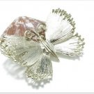 Vintage Butterfly Brooch Pin Designer Lisner Gold Platinum Retro Mod Jewelry