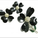 Vintage Retro Flower Brooch Pin Earrings Black Sarah Coventry Dogwood 60s Mod Designer Jewelry