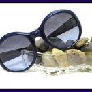 Donna Karan Vintage Sunglasses Big Dark Blue Retro Mod 80's Eyewear Designer Glasses
