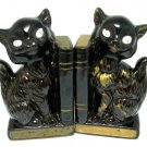 Siamese Cat Bookends Vintage Redware Pottery Brown Gold Japan Collectible Art Deco Home Decor