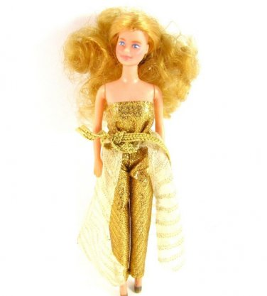 Vintage Barbie Doll Golden Dream 1966 Philipines Mini Gold Jumpsuit Skirt Cape Collectible Disco