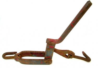 Vintage Come A Long Farm Tool Chain Binder Tack Antique Red Barn Rusty Display