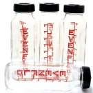 Vintage Evenflo Baby Bottles Glass Mod Black Red 1950's Collectibles 8 Ounce Set 4 Rings