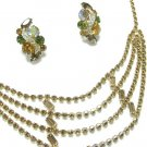 Kramer Cleopatra Necklace Earrings Rootbeer Topaz Brown Gold Designer Vintage Jewelry Formal Evening