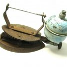 Vintage Clothes Iron Metal Kerosene Bulb Aqua Rusty Antique Home Decor