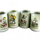 Gerz German Beer Stein Set Vintage Art Pottery Brewery Cartoon Barware Funny Hand Painted