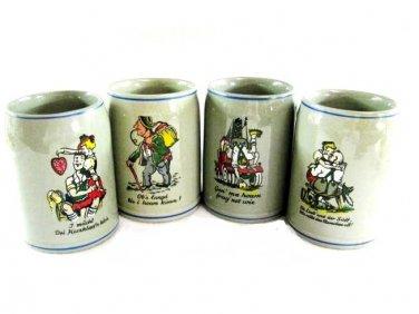 Gerz German Beer Stein Set Vintage Art Pottery Brewery Cartoon Barware Funny Hand Painted