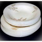 Federal Glass Milkglass Bowls Plates Snack Bread Dessert White Golden Glory Bamboo Vintage Glassware