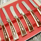 Vintage Sheffield Serving Set Butter Knife Spreader Paring Serrated Stainless Cream Brown Kitchen