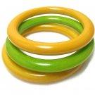 Vintage Bakelite Bangle Bracelets Green Lemon Lime Yellow Butterscotch Retro Jewelry