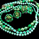 Vintage Bead Necklace Earrings Green Teal 3 Strand Rhinestone Pearl Flower Retro Mod Jewelry