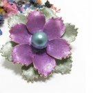 Kramer Enamel Brooch Pin Vintage Retro Lavender Purple Pearl Gold Designer Jewelry