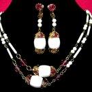 White Milk Glass Bead Necklace Earrings Vintage Pink Rose Rhinestone Flapper Long Retro Renaissance