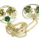 Linc Designer Sweater Guard Brooch Pin Vintage Gold Filled Emerald Rhinestone Retro Art Deco Jewelry
