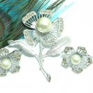 Sarah Coventry Jewelry Flower Brooch Earrings Silver Pearl Marcacite Nocturne 60s Mod Designer