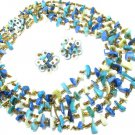 Vintage Mother Of Pearl Shell Necklace Earrings Blue Green Aqua Retro Japan Chunky Runway Jewelry