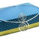 Avon Vintage Wire Choker Necklace Silver 70s Funky Mod Jewelry Retro Swirl New Old Stock