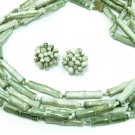 Vintage Bamboo Bead Necklace Earrings 5 Strand Hong Kong Green Retro Mod Funky Jewelry