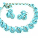 Lisner Thermoset Necklace Earrings Aqua Blue Silver Vintage Retro Mod Designer Jewelry