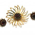 Modern Flower Brooch Pin Earring Sarah Coventry Gold Burgundy Ruby Rhinestone Designer Jewelry