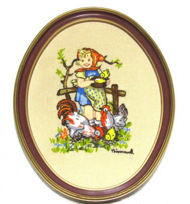 Farm Girl Hummel Framed Crewl Embroidery Vintage Hen Rooster Country Wall Art Handcrafted Home Decor