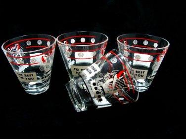 1950's Shot Glasses Hazel Atlas Lyre Quill Red Black Retro Design 3 Ounce Set Barware Collectible