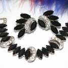Sarah Coventry Bracelet Earrings Black Navette Rhinestones Silver Crescent 1950s Vienna Nights