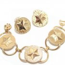 Vintage Star Bracelet Earrings Military Brass Sarah Coventry Gold Patriotic American 60s Designer