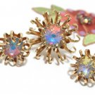 Huge Rivoli Rhinestone Brooch Earrings 60s Coventry Opalescent Gold Mod Flower Designer Jewelry Set