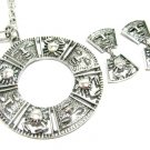 Tribal Tiki Necklace Earrings Vintage Coventry Silver Antique Crab Ethnic Modern Designer Jewelry