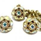 Big Gold Necklace Earrings Set Sarah Coventry AB Rhinestone Dancing Magic 1950s Designer