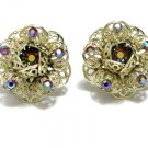 Flower AB Rhinestone Earrings Vintage Coventry Gold Red Ornate Retro Mod 60s Sarah Coventry