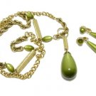 Avocado Green Gold Necklace Earrings Vintage Coventry Teardrop Funky Hipster Jewelry Long Pendant