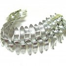 Lisner Wide Silver Link Bracelet Mod Designer Jewelry Abstract Leaf Retro Hipster 60's