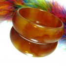 Chunky Bakelite Bangle Bracelet Brown Amber Tortoise Marble Thick Retro 1940s Vintage Jewelry